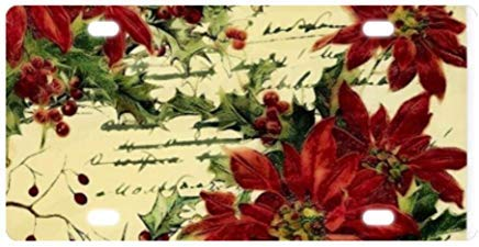 Vintage Poinsettia and Holly Durable Front License Plate Decorative Funny Novelty License Plate Frame Cover Vanity Tag Unique Gifts for Men Women