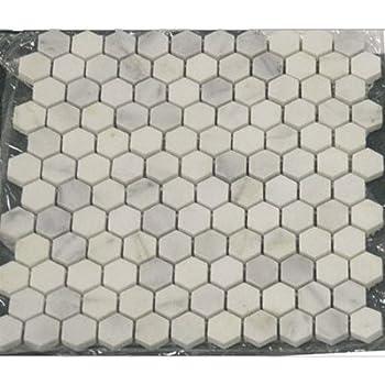 White Marble Hexagon 1x1 Polished Mosaic Tiles On 12x12
