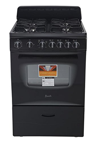 Black Stove - AVANTI GR2415CB Gas Range Sealed Burners, 24
