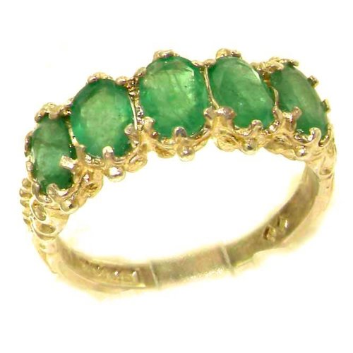 LetsBuyGold 14k Yellow Gold Real Genuine Emerald Womens Eternity Ring - Size 11