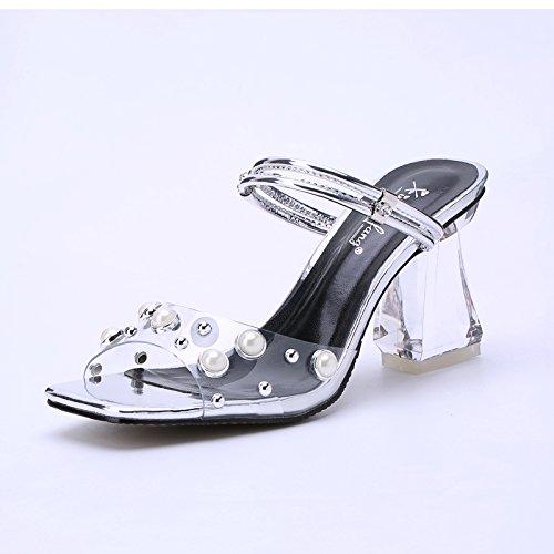Suhang Sandalias con Las Dos Sandalias Rough Wear Hembra Perla Cristal Transparente Tacón Alto Zapatos Peces Boca Zapatos Media Zapatillas Mujer Zapatos plata