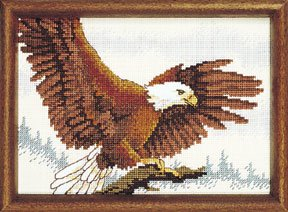Sunset Jiffy Counted Cross Stitch Kit - Eagle in Flight Designed By Patrick Coddington - 7 By 5 Inch Frame Size - #16603