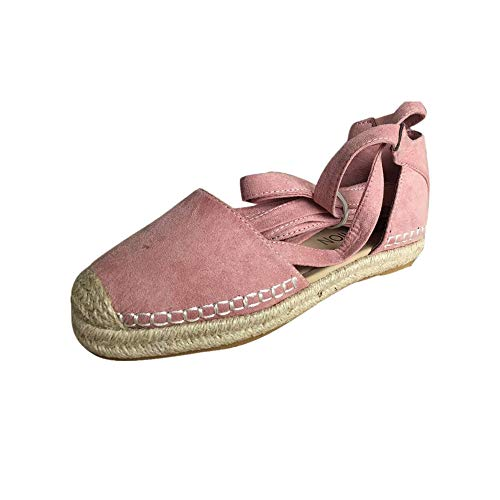 (ONLY TOP Sandals for Women, Lace Up Closed Toe Espadrilles Silver Brown Navy Light/Rose Gold Tie Up Flat Shoes)