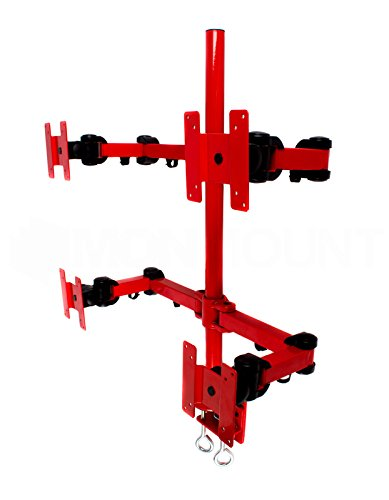 Quad LCD Monitor Stand Desk Clamp Holds Upto 4 27-Inch LCD Monitors, Red () - MonMount LCD-2020R
