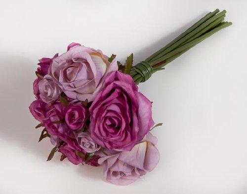 Factory Direct Craft Silk Lavender Rose Nosegay Wedding Bouquet