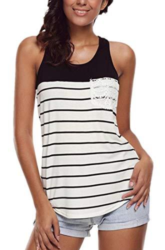 VEAWLL Women Tank Top Plus Size Casual Blouses Crochet Pocket Shirt Black 2XL ()