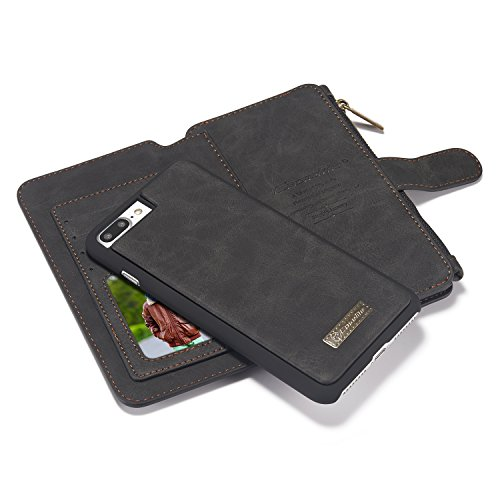 iPhone 8 Plus Case, CaseMe 2 in 1 Multi-Functional Leather Flip Folio Large Capacity Genuine Leather Wallet Card Slots Bag case Phone Cover for Apple iPhone 8 Plus/iPhone 7 Plus 5.5inch (Black)