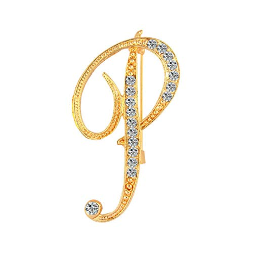 for Women Gift Charm Alphabet Letter A-Z Gold-Tone Initial Brooch Pin Accessory (Model - P)