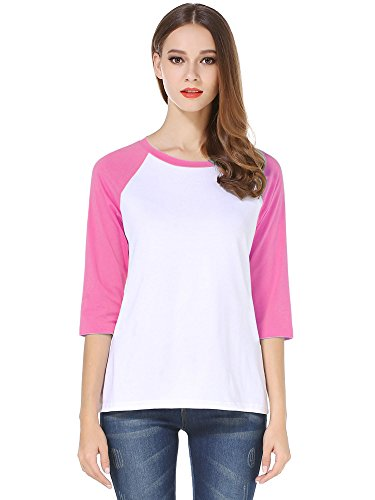 HUHOT Cotton Crew Neck 3/4 Sleeve Jersey Shirt Baseball Tee Raglan T-Shirts Large Pink