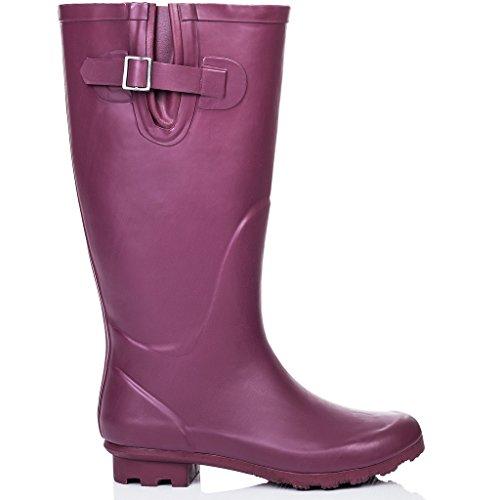 Wellies Flat Wellington KARLIE Spylovebuy Boots Rain Raspberry High Festival Knee OqIt55w