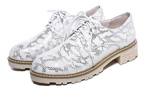 Showhow Kvinna Bekväma Ormskinn Snörning Oxford Shoes Vita