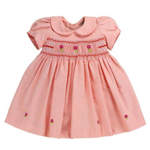 sissymini - Knit Chambray Petite Piper Infant & Toddler Hand-Smocked Dress in Cosmos Peach 2T