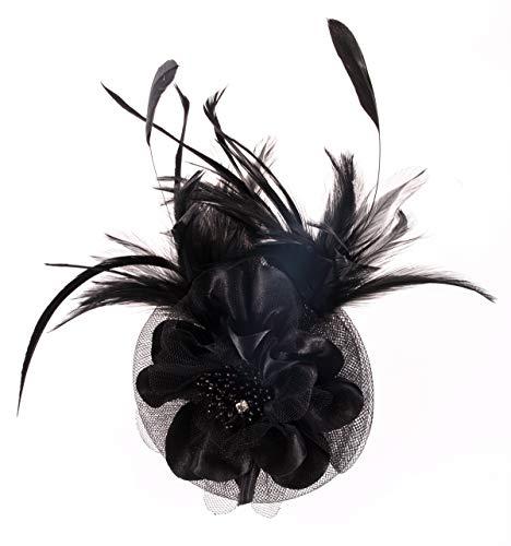 Fascinator Headband Women Mesh Feather Flower Hair Clip Brooch Corsage Girls Wedding Tea Party Derby Cocktail Headwear Hairpin Head Decoration(Black)]()