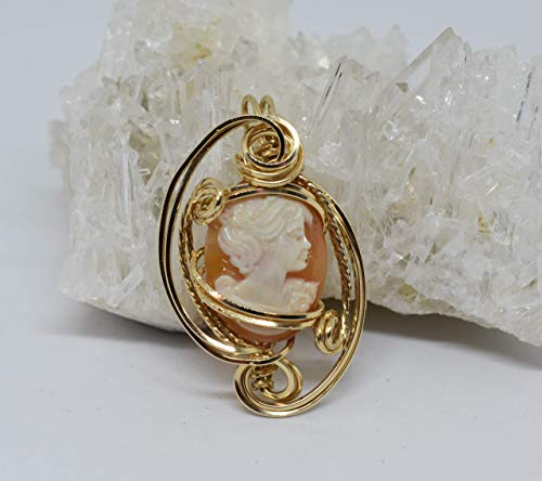 High Quality Hand-carved Authentic Italian Shell Cameo Pendant, 14 Carat Rolled Gold, Wire Sculpted Pendant, Wire Wrapped Jewelry, Women's Fine Jewelry, Victorian Style Cameo