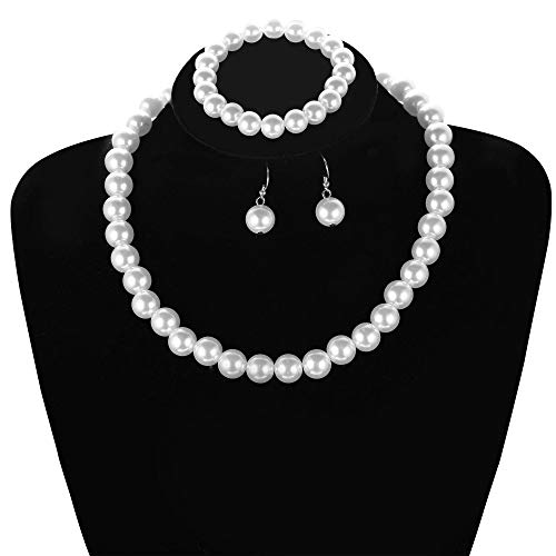Faux Pearl Necklace Set - Hanpabum Faux Pearl Choker Necklace Dangle Earrings and Bracelet Set Bridal Wedding Jewelry for Women Best Gift for Mother (A)