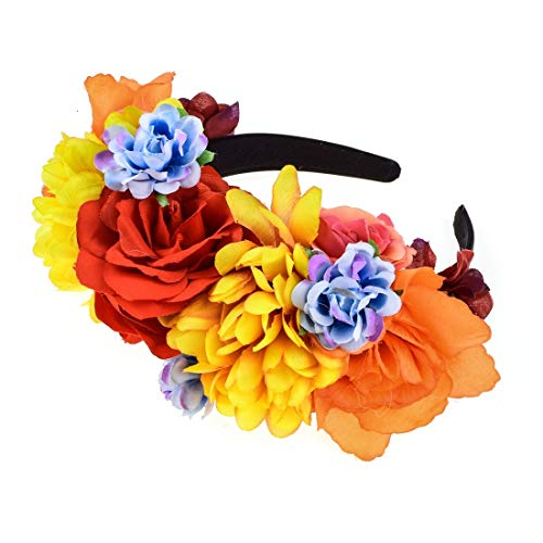 Vividsun Day of The Dead Headband Costume Rose Mexican Flower Headband (D/flower)]()