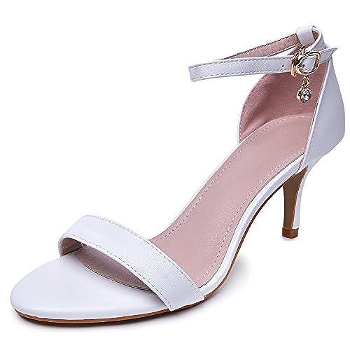 c8a76a315 Novel Harp Open Toe Ankle Strap Kitten Heel Sandals Stiletto Pumps  well-wreapped