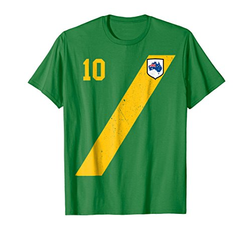 Retro Australia Soccer Jersey Aussie T-Shirt in Green (Boys Club Rugby)