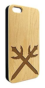 Genuine Maple Wood Organic Double Sword Knives Snap-On Cover Hard Case for iPhone 4/4S