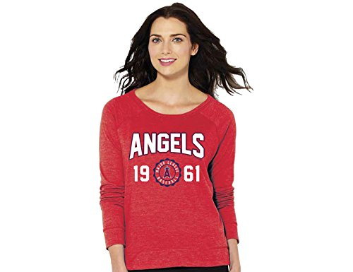 Soft As A Grape MLB Los Angeles Angels Women's Crew Neck Sweatshirt, Medium, Red