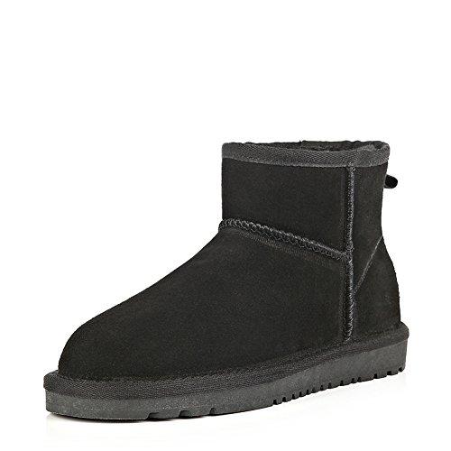 Wevans Uomo Camoscio Alla Caviglia Elegante Inverno Neve Avvio Nero