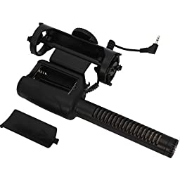 MegaGear Professional Shotgun Camcorder with Fuzzy Windjammer , Camera Microphone for Nikon DSLR D600 D800 D3S D300S D7000 D5100 Canon EOS 60D 6D 7D 5D Mark II 650D 5D MK III Rebel T5i T4i T3i T2i