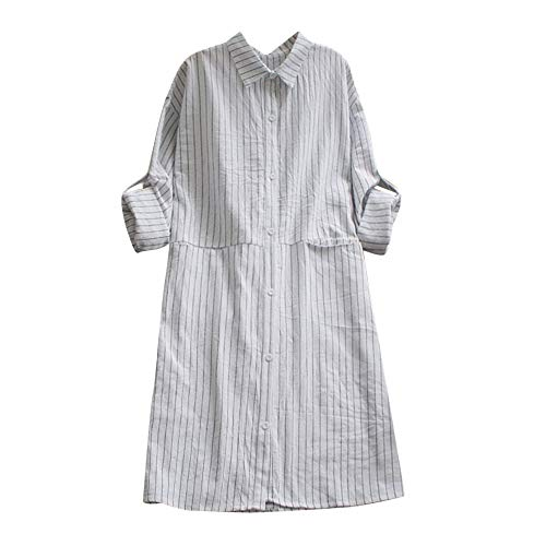 Baigoods Fashion Women Pockets Dress Long Sleeve Cotton Linen Striped Casual Dresses -