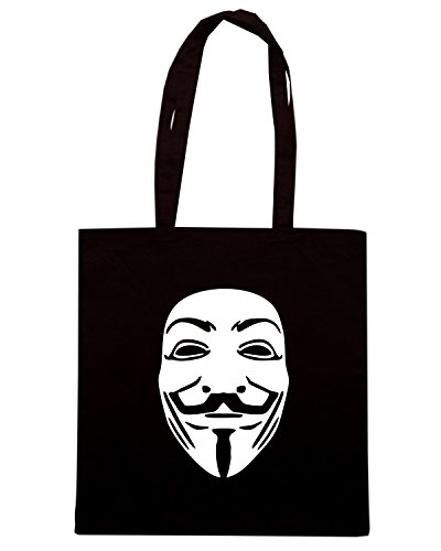 T-Shirtshock - Bolsa para la compra TR0146 V for Vendetta Guy Fawkes Rebel Mask on Black Negro