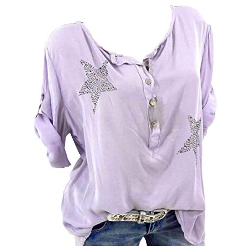 Toimoth Women Plus Size Button Five-Pointed Star Hot Drill Tops Blouse(Pink,L)
