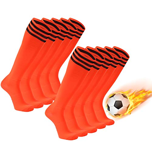 Soccer Socks, FOOTPLUS Unisex Knee High Breathable Arch Support Halloween Socks for Softball Baseball Volleyball Lacrosse All Team Sports, 10 Pairs Orange+Black Stripe, -