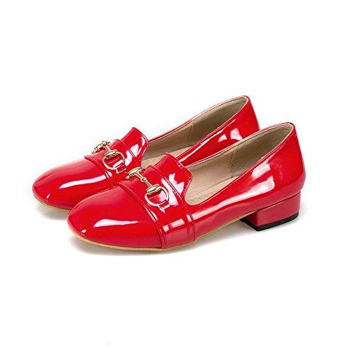 Damen Blend-Materialien Ziehen auf Rund Zehe Niedriger Absatz Pumps Schuhe, Schwarz, 36 VogueZone009
