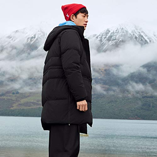 Cotone Invernale Pettorina Size Da Orlo Con Ampia In Regolabile Maniche Giacca Giacche Black color A Cappotti Xxl E Caldo Uomo Cappuccio Piumino Black Lunghe 1qwZxISxv