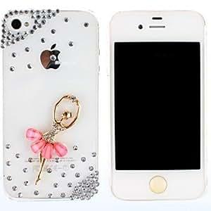 JOE Elegant Ballet Dance Beautiful Girl Bead Metal Jewelry PC Hard Case for iPhone 4/4S (Assorted Colors) , Dark Blue