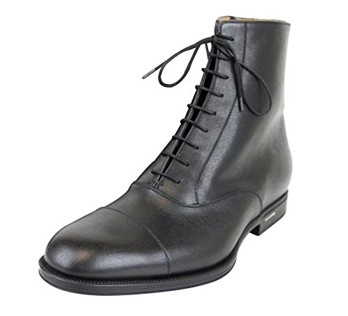 Gucci Men's Black Leather Side Zip Lace-up Ankle Boots 322481 1000 (Gucci 10 / US 11) (Gucci Boots For Men)