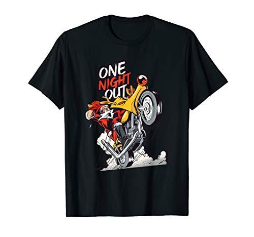 Santa Claus riding a motorbike on Christmas - One night out T-Shirt (Motorbike Santa On)