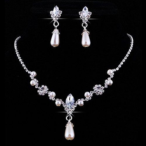 YSTD® New Bridal Bridesmaid Faux Pearl Rhinestone Crystal Necklace Pendant Earring Set