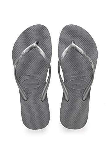 Havaianas Women's Slim Flip Flop Sandal, Steel Grey, 39/40 BR (9-10 M US)