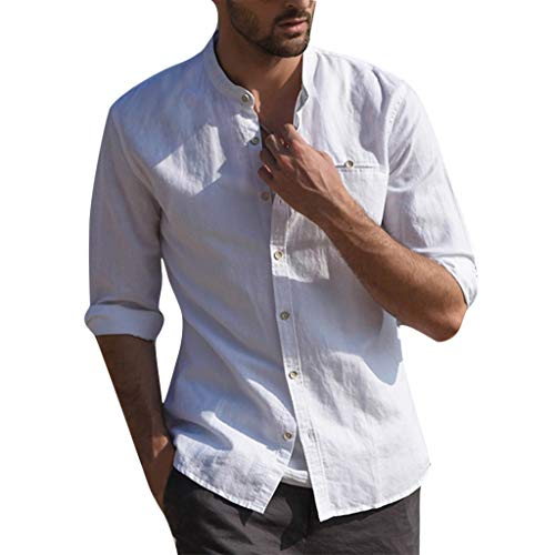 Men's Casual Shirts Long Sleeve Buttoned Front Pocket Linen Hippie Shirts Summer Beach Tops by URIBAKE White