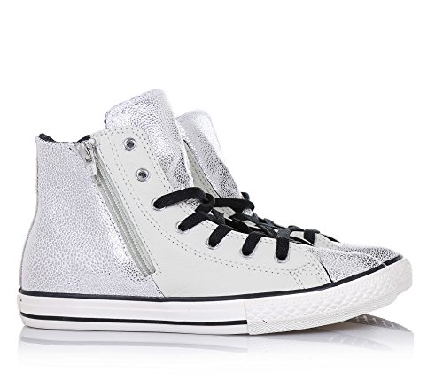 Star All SILVER Converse Zip Leather Side 655161c BLACK Hi BUFF fqRHCR