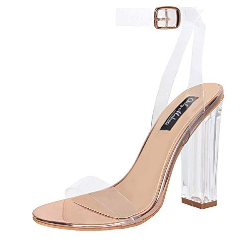 Onlymaker Women's Lucite Clear Ankle Strap Adjustable Buckle Block Chunky Perspex High Heel Transparent Dress Sandals Rose Gold 9.5 M US