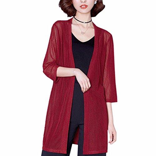 Manteau Lache Ouvert Maille Courtes Devant Manches Femmes vin rouge Uv Cardigan Solide Anti Ete vqZWBnwBx4