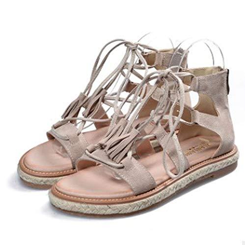Women Sandals 2018 Fashion Summer Shoes Cow Suede Lace-Up Fringe Flats Shoes,Khaki,6