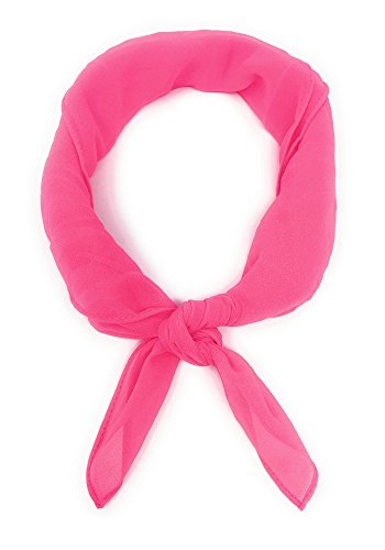 - Sidecca Retro Classic Chiffon Square Neck Head Scarf (One Size, Hot Pink (Georgette)