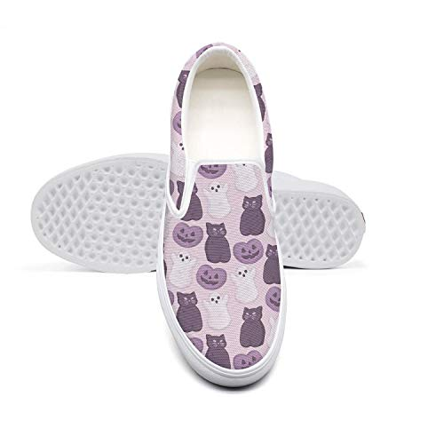 Pretty Women Lazy Canvas Slip-On Shoes Cat Candy Peeps Marshmallow Pumpkin Design RunningSneaker Shoes]()