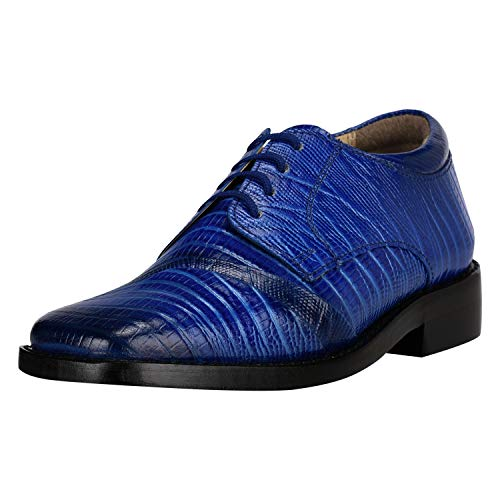 Liberty Boys Gliders Genuine Leather Crocodile Print Lace up Dress Shoes (Size 8 US/Age 1-4 Years/Toddler, Royal Blue)