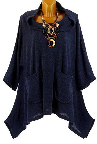 Taille Capuche Bleu Charleselie94 bohme Tunique Bleu Grande Blanca Hiver Bleu asymtrique w6YTqA