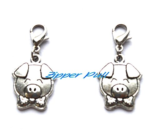Pig farm,farmer,farming,pet pig,piggy,farm animal,Zipper Pull, Perfect for Necklaces, Bracelets , keychain and earrings ()