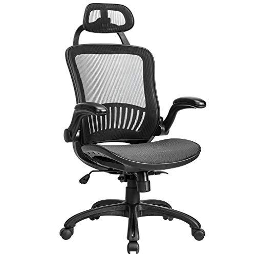 (Office Chair Desk Chair Computer Chair Ergonomic Rolling Swivel Mesh Chair Lumbar Support Headrest Flip-up Arms High Back Adjustable Chair for Women& Men,Black)