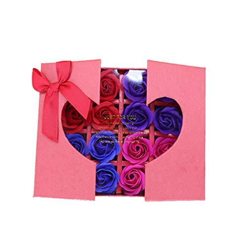 Matoen Valentine's Day Birthday Simulation Rose Soap Flower Scented Bath Body Petal Rose Flower Soap Wedding Decoration Gift Best Gift Box Wedding 16PC (Red)