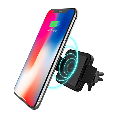 Patchworks Wireless Charging Car Mount Phone Holder – Qi Wireless Fast Charger Car Air Vent Mount for Samsung Galaxy S8, S7/S7 Edge, Note 8 5 & iPhone X, 8/8 Plus & Qi Enabled Devices